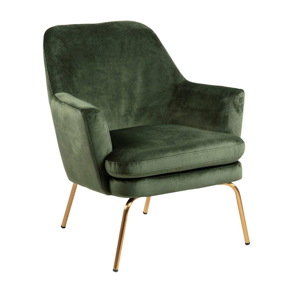 Ciemnozielony aksamitny fotel z nóżkami w kolorze złota Actona Chisa