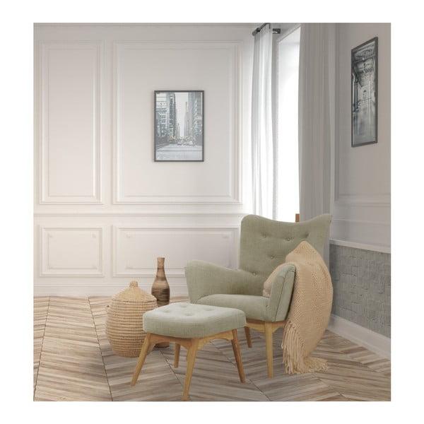 Beżowy fotel z podnóżkiem Helga Interiors Karl