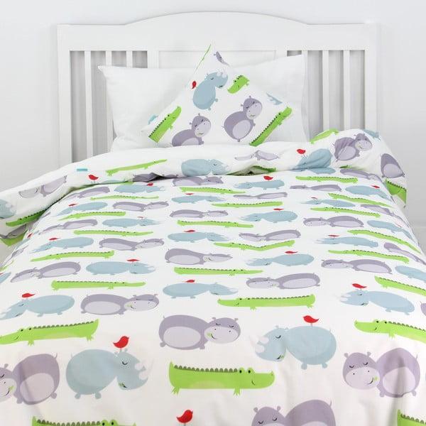 Dziecięca pościel bawełniana z poszewką na poduszkę Mr. Fox Hippo 140x200 cm