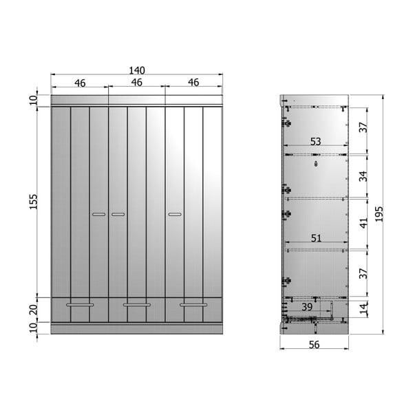Szafa Strip Concrete Grey, 195x140 cm