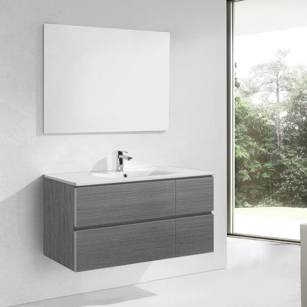 Szafka do łazienki z umywalką i lustrem Capri, odcień szarości, 120 cm