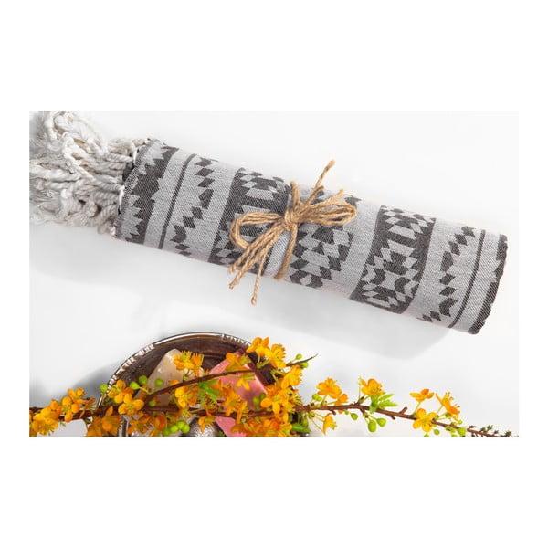 Szary ręcznik hammam Begonville Heritage, 180x95 cm