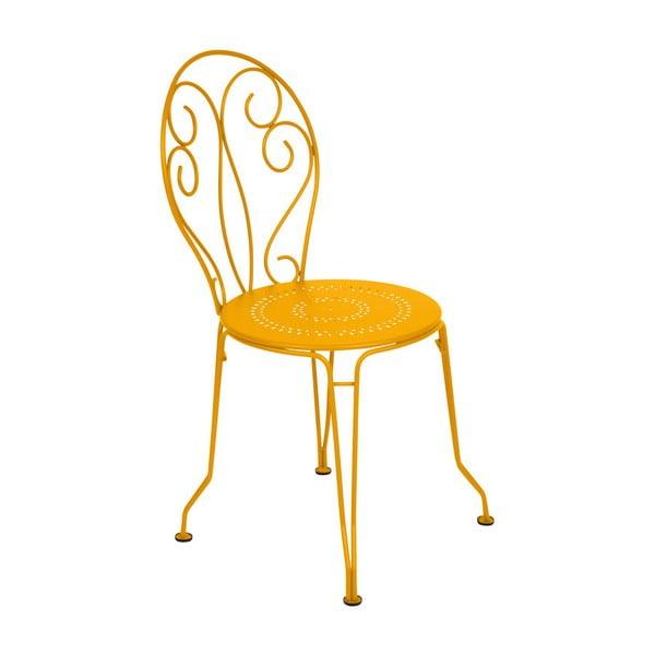 Żółte krzesło metalowe Fermob Montmartre