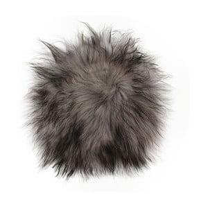 Szara poduszka futrzana do siedzenia z długim włosiem Dark tops, Ø 35 cm