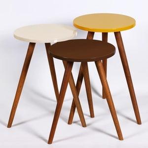 Zestaw 3 stolików Kate Louise Round (brązowy, kremowy, żółty)