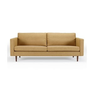 Musztardowa sofa trzyosobowa Kragelund Otto