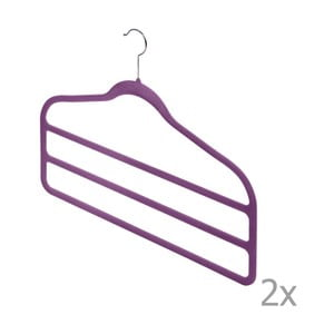 Zestaw 2 fioletowych wieszaków na spodnie Domopak Living