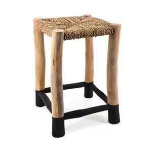 Drewniany taboret z siedziskiem z rattanu Moycor Marsella