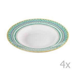 Komplet 4 talerzy porcelanowych na zupę Oilily 24,5 cm, zielony