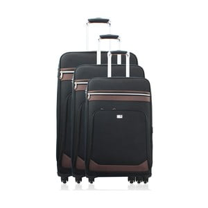 Komplet 3 walizek Valises Avec Poly Black