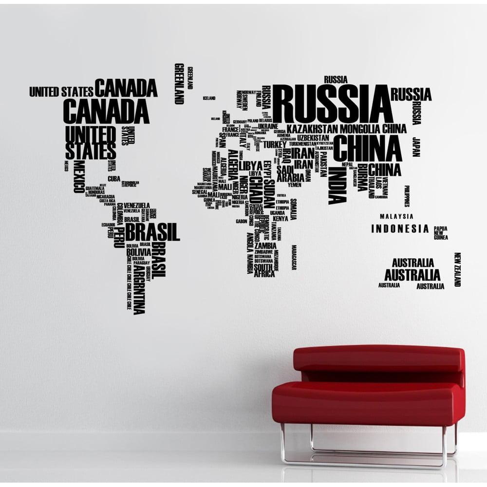 Naklejka na ścianę Mapa świata, 90x120 cm | Bonami