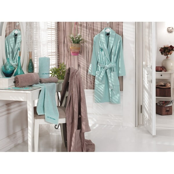 Komplet 2 szlafroków i 4 ręczników U.S. Polo Assn. Menthol