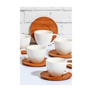 Zestaw 6 białych filiżanek porcelanowych ze spodkami Kutahya, 80 ml