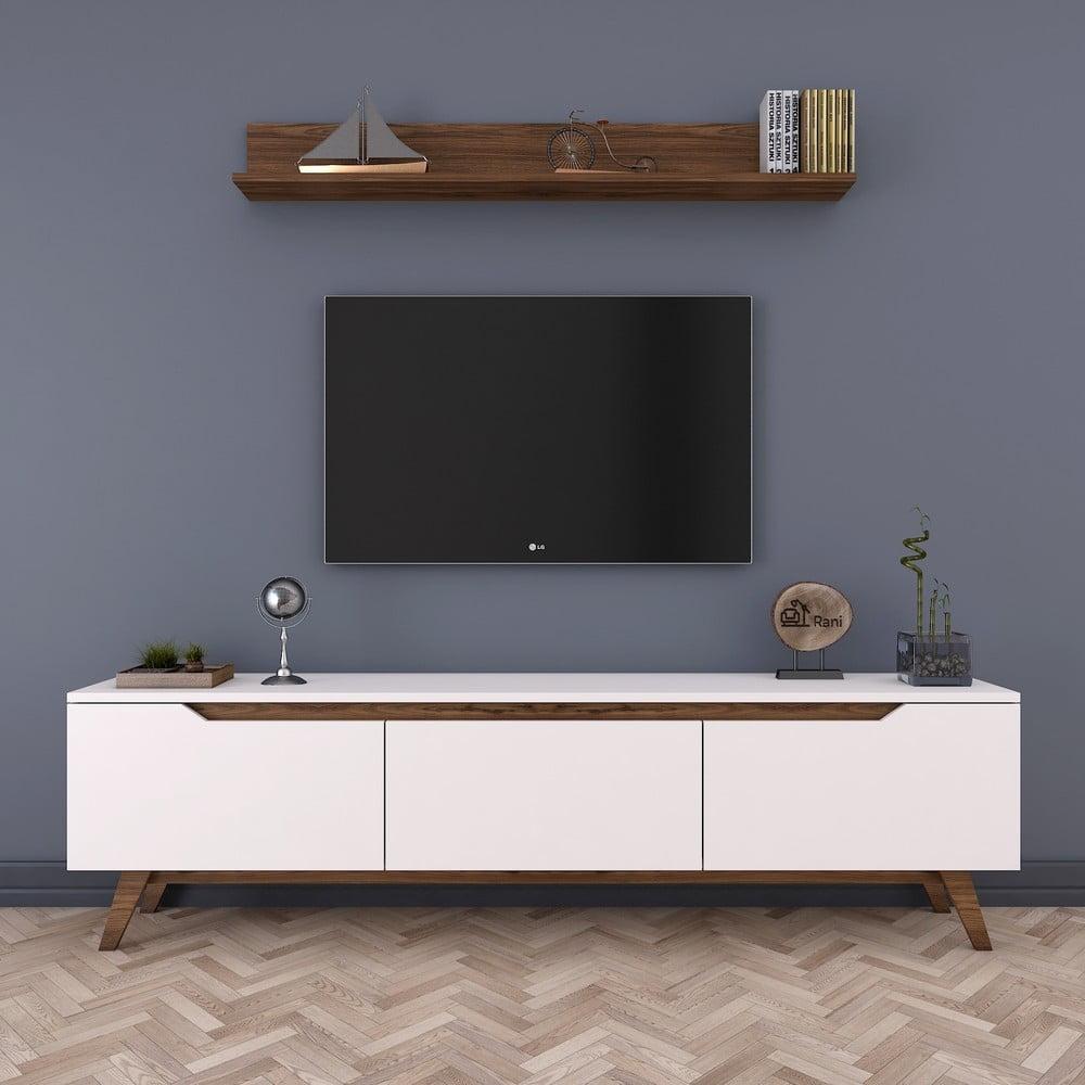 Zestaw białej szafki pod TV i półki Wren