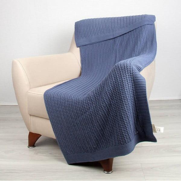 Niebieski  koc bawełniany Clen