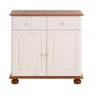 Biała szafka 2-drzwiowa z brązowym dekorem z litej sosny Støraa Ella