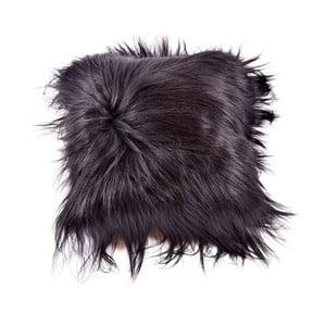 Ciemna dwustronna poduszka futrzana z długim włosiem Blacky, 45x45 cm