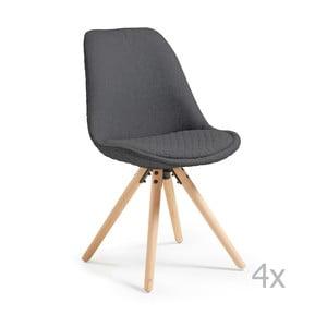 Zestaw 4 ciemnoszarych krzeseł La Forma Lars