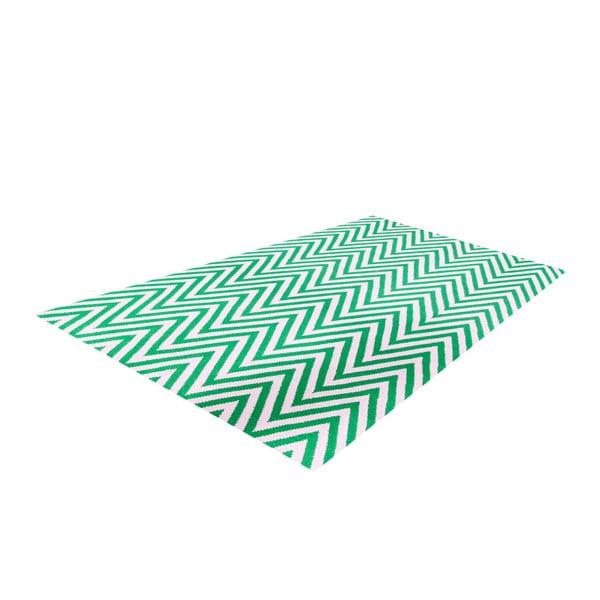 Dywan wełniany Zig Zag Green, 90x60 cm
