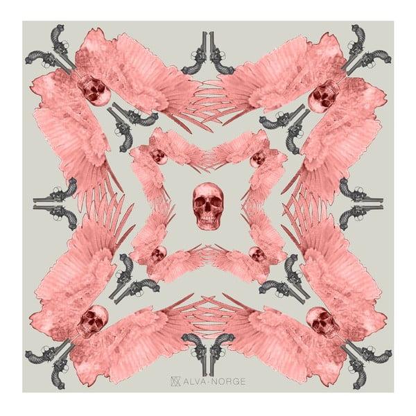 Wełniana chusta z dodatkiem kaszmiru Guns Pink, 130x130 cm