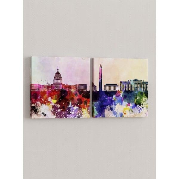 Zestaw 2 obrazów Miasto w kolorach
