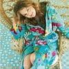 Niebieski szlafrok damski Pip Studio Floral Fantasy, rozm. S