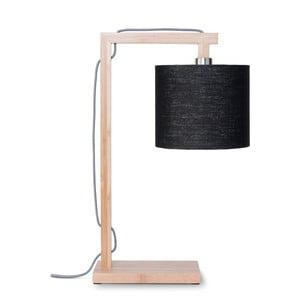 Lampa stołowa z czarnym kloszem i konstrukcją z bambusa Good&Mojo Himalaya