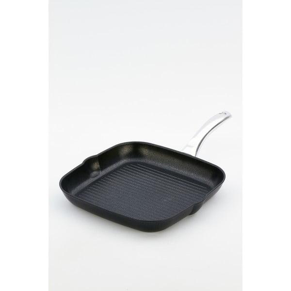 Patelnia do grillowania z rączką w kolorze srebra BiKompletti Black Diamond,28x28cm