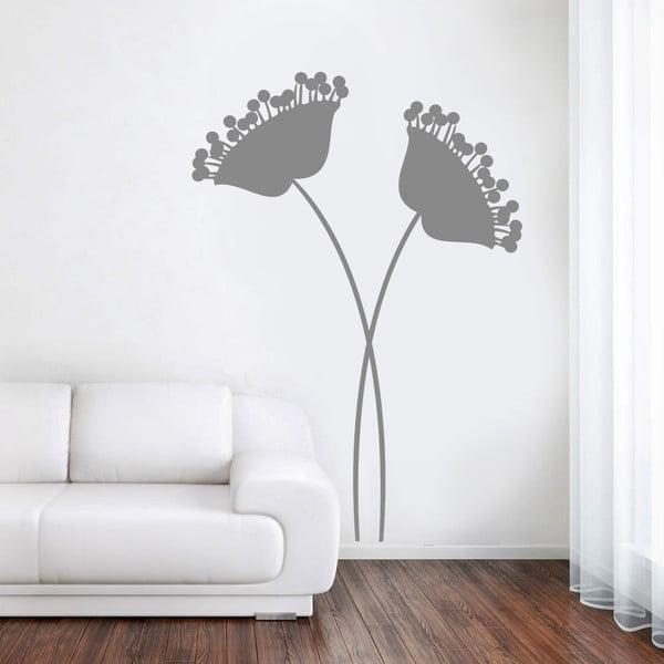 Naklejka ścienna Nowoczesne szare kwiaty, 90x60 cm
