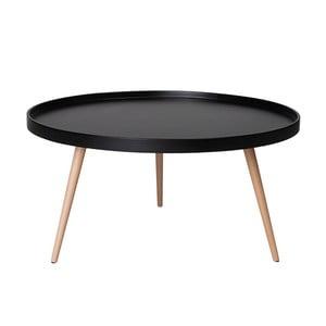 Czarny stolik z nogami z drewna bukowego Furnhouse Opus, Ø90cm