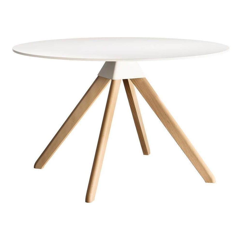 Biały stół z konstrukcją z bukowego drewna Magis Cuckoo, ø120cm