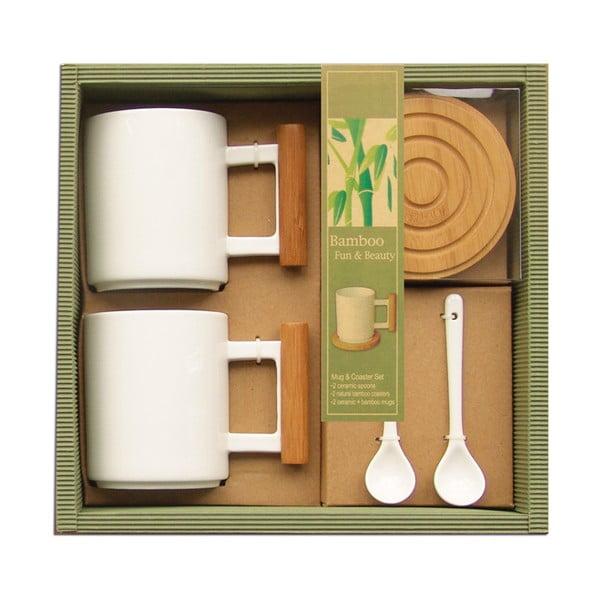 Komplet 2 kubków, łyżeczek i podkładek Bamboo