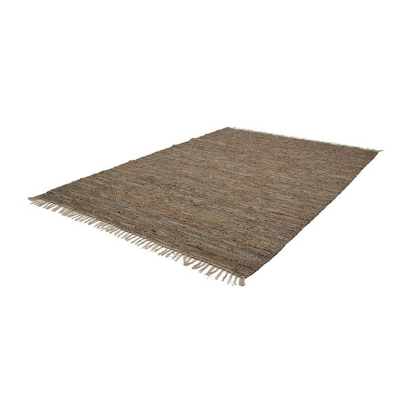 Beżowy skórzany dywan Kayoom Rajpur, 70x130 cm