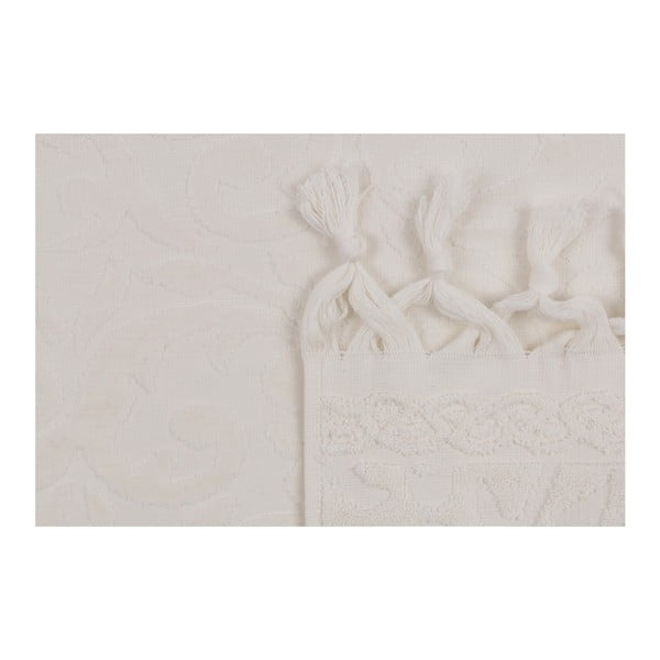 Zestaw dwóch białych ręczników Bohème, 90x50 cm