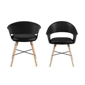 Černá jídelní židle s podnožím z bukového dřeva Actona Ivar