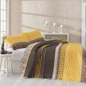 Pikowana narzuta i poszewki na poduszki Miranda Yellow, 200x220 cm