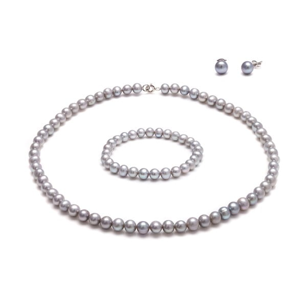 Komplet szarej perłowej biżuterii GemSeller Coen