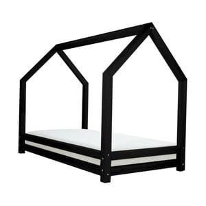 Czarne łóżko 1-osobowe z drewna sosnowego Benlemi Funny, 80x180cm