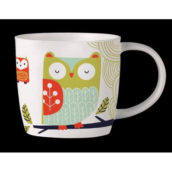 Kubek z angielskiej porcelany Folkland Barn Owl White