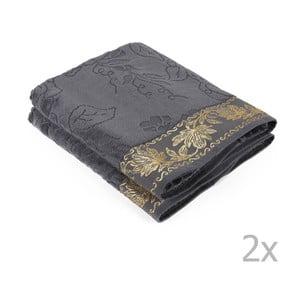 Zestaw 2 szarych ręczników Asu, 70x140 cm