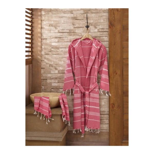 Zestaw szlafrok i ręcznik Sultan Maroon, rozmiar L/XL