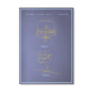 Plakat Ski Lift, 30x42 cm