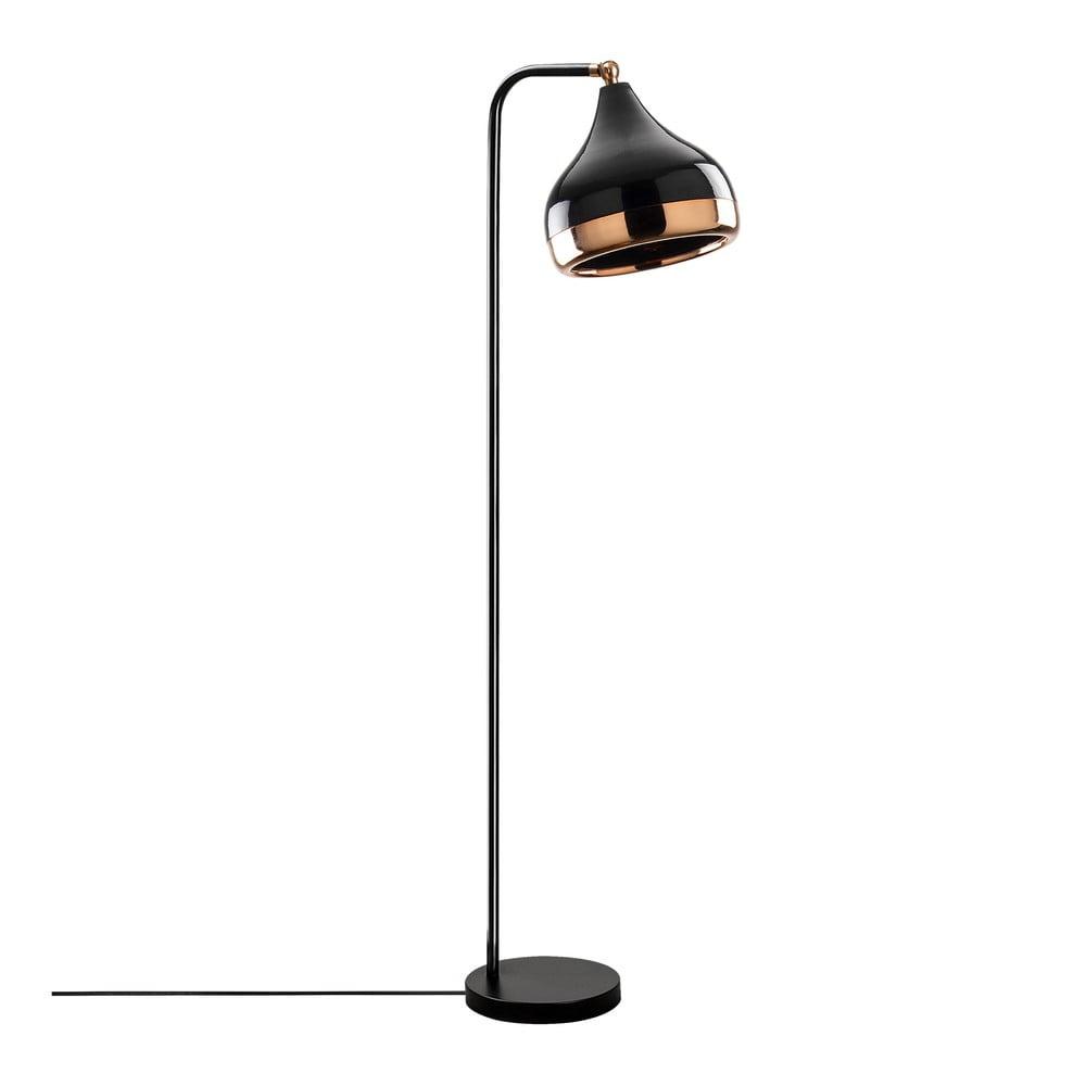 Czarna lampa stojąca z elementami w kolorze miedzi Opviq lights Yildo
