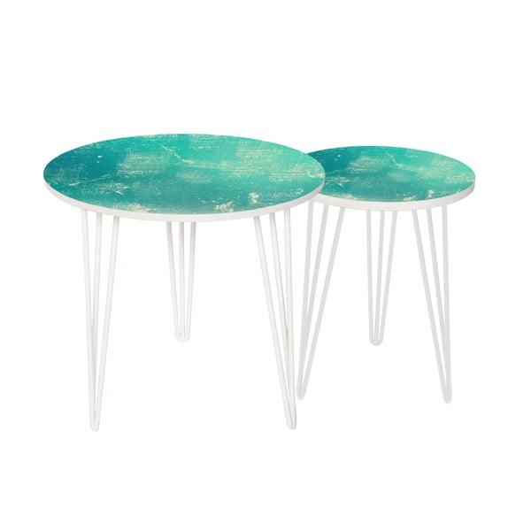 Zestaw 2 stolików Vintage Turquoise, 35 cm + 49 cm