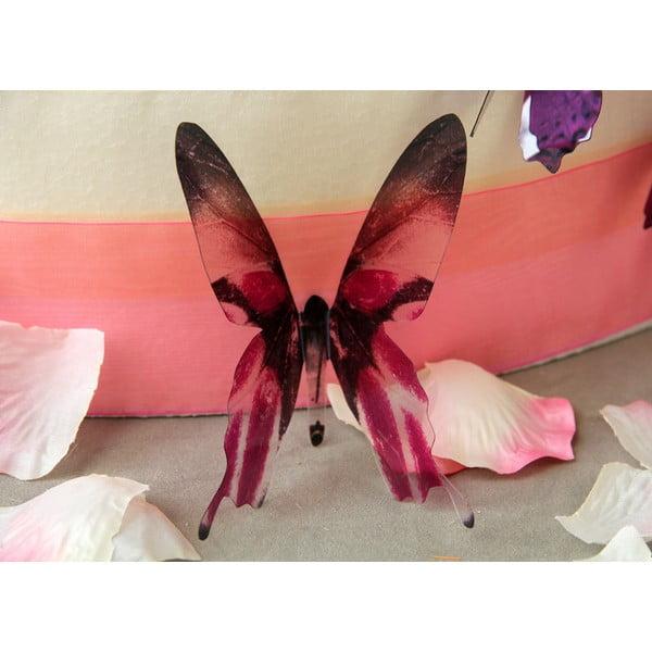 Zestaw 18 różowych adhezyjnych naklejek 3D Ambiance Butterflies