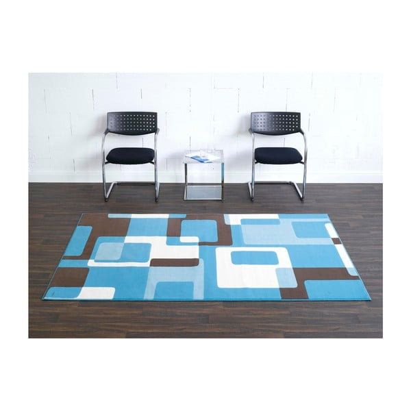 Dywan Hamla Retro, 80x300 cm, niebieski