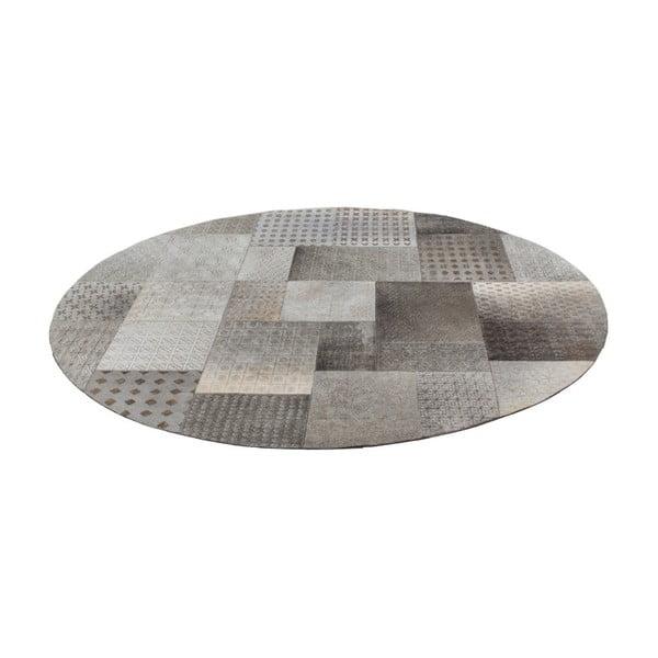 Szary skórzany okrągły dywan Ray, 140cm