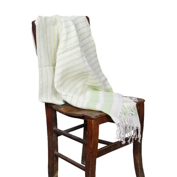 Zielony ręcznik hammam Aqua Green, 90x190cm