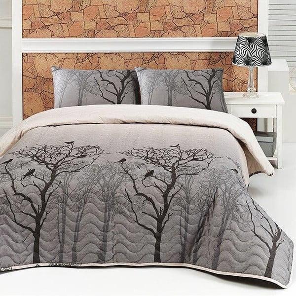 Pikowana narzuta i poszewka na poduszkę Bird Grey, 160x220 cm
