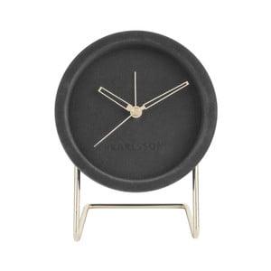 Grafitowy zegar stołowy z aksamitem Karlsson Lush